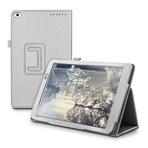 kwmobile Hülle für > Huawei MediaPad T1 10 < mit Ständer - Kunstleder Tablet Case Cover Tasche Schutzhülle in Silber