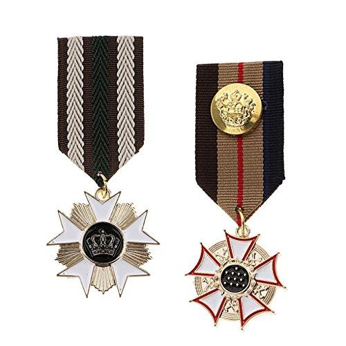 F Fityle 2 Stück Medaille Brosche Uniform Perle Brosche Urlaub Zubehör Hochzeit Dekoration Geburtstags Geschenk (Dekoration-medaille)