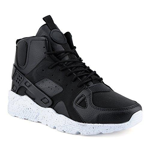 FiveSix Herren Sportschuhe High Top Sneaker Basketballschuhe Camouflage Freizeitschuhe Schuhe Schwarz/Weiss EU 41 Jeezy Schuhe