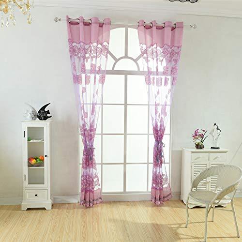 SH-RuiDu Direct Store Floral Plissee Voile Sheer Gardine Tülle Top dekorative Vorhänge für Schlafzimmer Wohnzimmer -