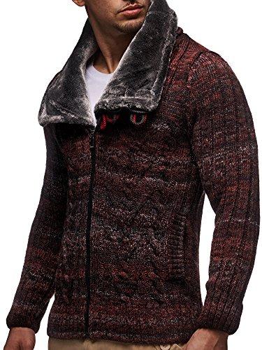 LEIF NELSON Herren Strickjacke Hoodie Strick Pullover Jacke Hoody LN20523 Rot