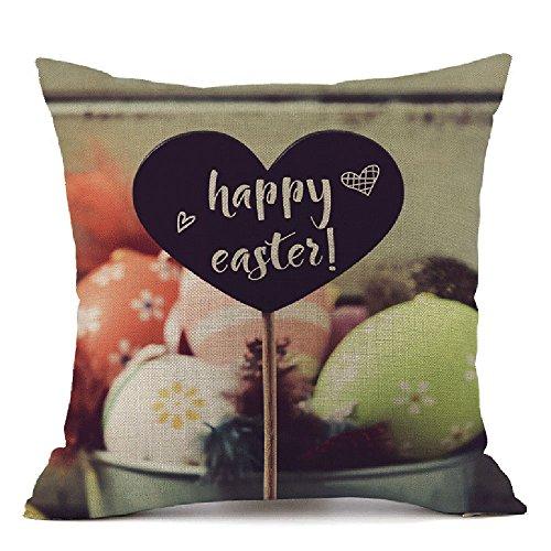 45 × 45 Lässig Kissenbezug Ostern Kopfkissenbezug JMETRIC Kissen Schutzbezüge Hase und Ei Drucken Leinen Baumwoll(I)