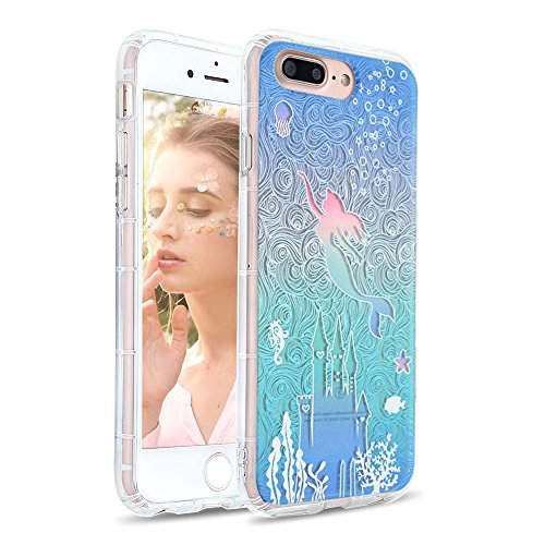 Hülle, iPhone 8 Plus Hülle, Transparent Weiche 3D-Relief-Lackierungstechnologie Silikon Hülle TPU Bumper Case Kratzschutz Schutzhülle für iPhone 7 Plus/8 Plus-Meerjungfrau 4 ()