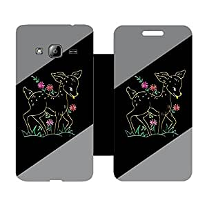 Skintice Designer Flip Cover with Vinyl wrap-around for Smasung Galaxy J3, Design - Small Deer