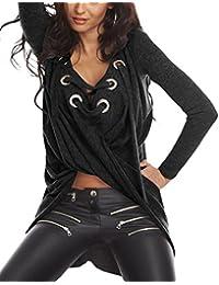 EOZY Femme Pull Sweater Moulant Casual Décolleté Shirt Club Lace Up Asymétrique