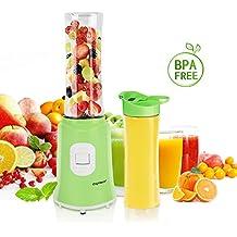 Aigostar Summer 30IWW - Batidora de vaso portátil para smoothies, batidos y picadora de frutas. Potencia 350W, Incluye 2 vasos portátiles de Tritan de 600 ml de capacidad y 2 tapas. Color verde. Libre de BPA. Diseño exclusivo