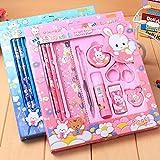 Yukio KinderToys - 9 Stück/Satz Student Schulschreibset Gemeinsame Lernwerkzeuge Schreibwaren Set Kinder Idealer Schulbedarf Schreibzeug Geschenkset (Pink)