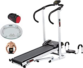 Lifeline Manual Jogger Treadmill with Twister and Pushup for Home Use | Bonus Weighing Machine, Gym Bag and Sweat Belt