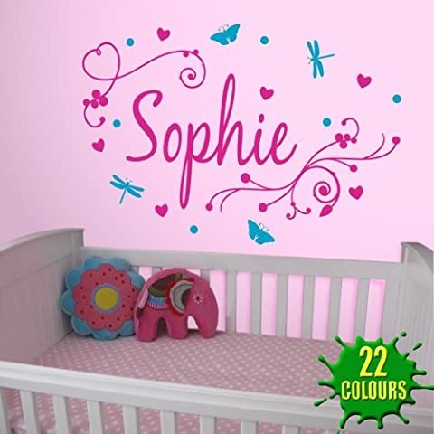 Girl's Swirly Personalised Name - Wall Decal Art Sticker playroom