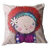 Luxbon Rot Haar Mädchen 45 x 45 cm Kissenbezug Kinder Kopfkissen Kissen Fall Sofa Taille Throw Cover Pillowcase Hülle Haus Zimmer Auto Dekokissen