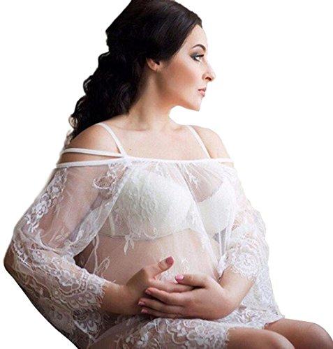 Kleider für Schwangere,ZEZKT Spitze Mini Umstandskleid,Brautkleid,Hochzeitskleid für Schwangere für Fotoshootings (XL, Weiß) (Front, Mini-kleid Spitze)