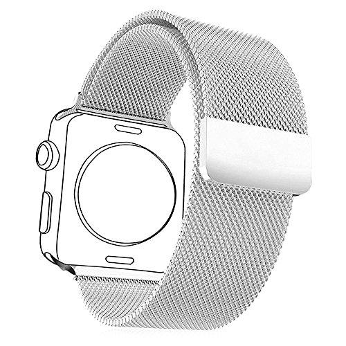 Correa para Watch Series 1 / 2,con Protector de Pantalla,Bandmax 42mm Milanese Loop Correa Milanesa de Acero inoxidable Reemplazo de Banda de Cierre Magnético para Apple Watch Todos los Modelos (42mm,Plateado)
