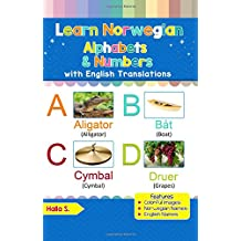 Learn Norwegian Alphabets & Numbers: Black & White Pictures & English Translations (Norwegian for Kids)