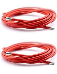 2x Funda Cable Acero Laminado Sirga Rojo de Ø5 y 2m para Bicicleta Fixie Retro 2898rj