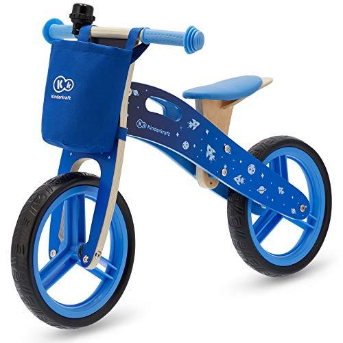 Kinderkraft KKRRUNGBLU00AC RUNNER Galaxy Laufrad Lernlaufrad Fahrrad für Kinder aus Holz 12 Zoll, blau (Das Fahrrad Runner)