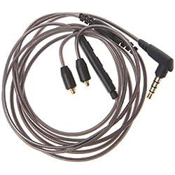 HOWWOH Câble d'écouteurs MMCX détachable avec Micro pour Shure SE215 SE425 UE900 3,5 mm