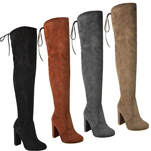 Femmes - Bottes extensibles hauteur cuisse dessus genou talon bloc mi-haut