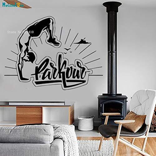 zhuziji Extreme Sport Wandaufkleber Invertiert Parkour Decals Dekoration Wohnzimmer Jump Run Vinyl Kunst Removable Murals Für Junge rot 113x84 cm