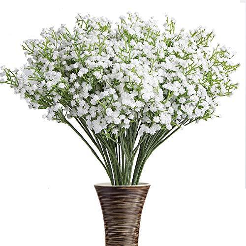 ShenHO 12Pcs Baby Breath/Gypsophila Künstliche Gefälschte Seidenpflanzen (White)