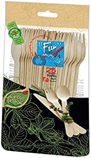 Fun® Everyday Eco Friendly Disposable Wooden Cutlery 6.5 Inch - Pack of 25