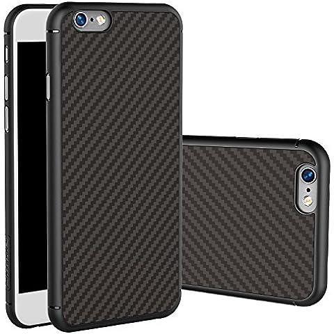 Meimeiwu Carcasa Fibra de Carbono Ultra Delgada y Ligéra Cover Funda Case para iPhone 6 Plus 6S Plus Negro