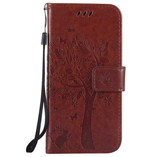 HTC M9 Case Cover, Embossing gepresste Blumen Katze und Baum Muster Solid Color PU-Leder Tasche weichen Silikon-Cover Flip-Stand Geldbörse mit Lanyard für HTC M9 ( Color : 3 , Size : HTC M9 ) 10