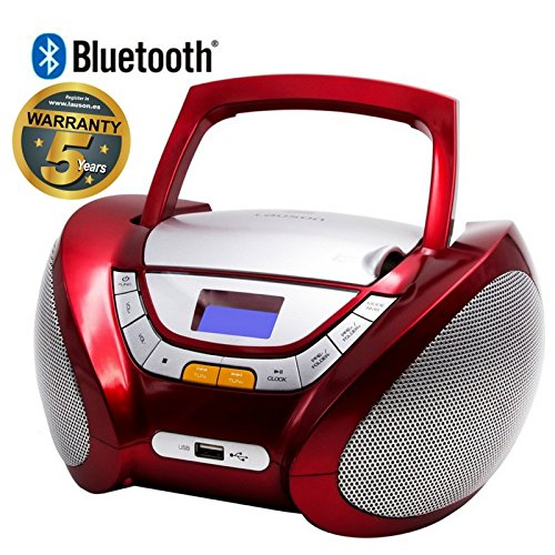 Lauson CD-Player | Bluetooth | Tragbares Stereo Radio | Kinder Radio | Stereo Radio | Stereoanlage | USB | CD / MP3 Player | Radio | Kopfhöreranschluss | AUX IN | LCD-Display | Batterie sowie Strombetrieb | CP449 (Rot) (Cd-player Tragbare Stereoanlage)