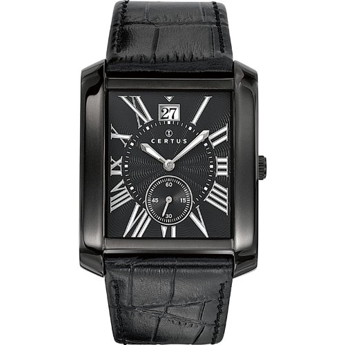 Certus 610988 Men's Quartz Analogue Watch with Black Dial and Black Leather Strap