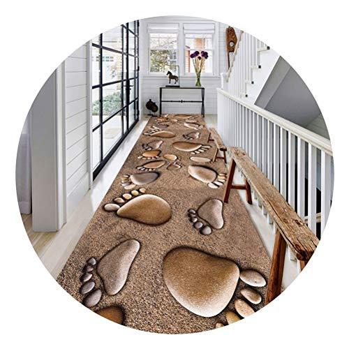 JYY Moderne Teppiche, Flur Teppich Läufer Wohnzimmer Küche Treppen 3D Abdrücke Strand Design Teppich (Farbe : Footprints Beach, Size : 70x300cm)