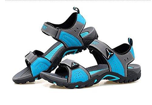 SHUNLIU Herren Sandalen Trend Sport Sandalen Outdoor Schuhe Sandaletten Kühlen Sommer Grau-Blau