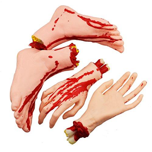 XONOR Halloween abgetrennte Hände Füße Set Scary Blutige gebrochene Körperteile Halloween Requisiten Dekorationen, 4 Stück (Füße und Hände) (Hautfarbe)