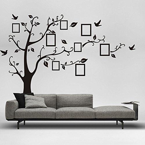 Wandtattoo Stammbaum XXL Baum mit Vögeln und Bilderrahmen 250 x 200cm -