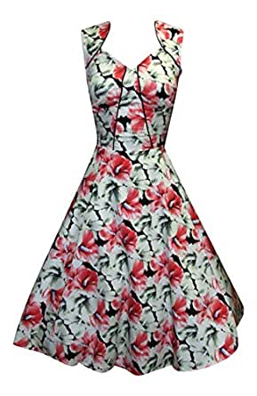 1940's 1950's Vintage Style White Red Lillies Floral Tea Dress (08)