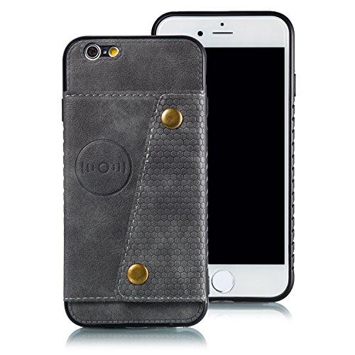 Preisvergleich Produktbild MoreChioce kompatibel mit iPhone 6S Hülle,kompatibel mit iPhone 6 Lederhülle, Luxus Grau Leder Handytasche Protective Brieftasche mit Kartenfach Stoßfest TPU Backcover Defender Bumper,EINWEG