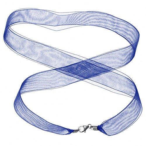 Ruban Collier avec fermoir en argent sterling Bleu – 43,2 cm