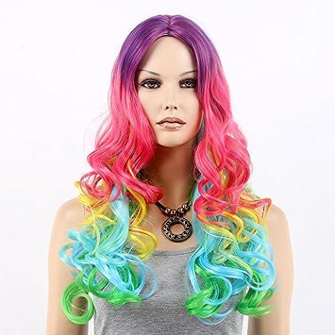 Stfantasy des Perruques pour femme Long Wave résistant à la chaleur Cheveux synthétiques 61cm 230g Fluffy Perruque Peluca gratuit Cheveux Net + Clips, coloré, arc-en-ciel
