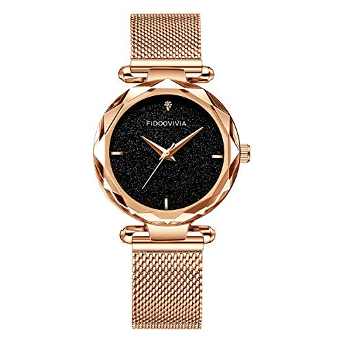 Women Watch Ladies Stainless Steel Mesh Band Starry Sky Dial Analogue Quartz Wrist Watch for Ladies Rose Gold