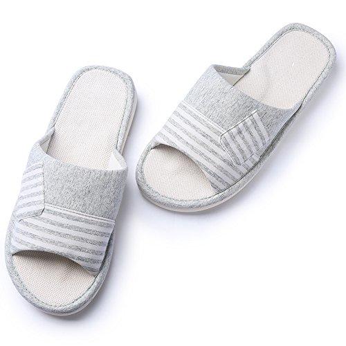 Pantofole in cotone antiscivolo in cotone KENROLL Soft Comfortable Moisture Wicking Pantofole da interno in lana da Uomo da Donna (7.5-8 UK/42-43 EU, Light Khaki) Verde chiaro-01