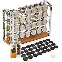 EZOWare Porte épices, Support à 4 Niveaux avec 24 Pots à épices en Verre et 32 étiquettes pour comptoir, cellier…