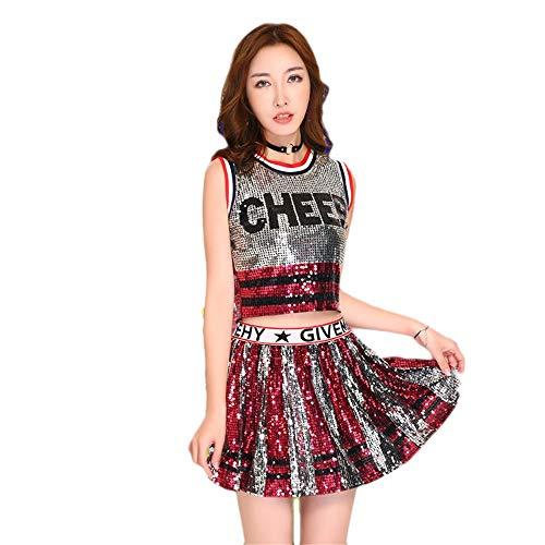 Idole Kostüm Musik - MCO%SISTSR Cheerleader-Kostüm,Musik-Kostümsportwettbewerbs-Tanzleistung des Mädchen Cheerleaderuniformpaillettenrock-Highschool Musik,Rote 2,XXL