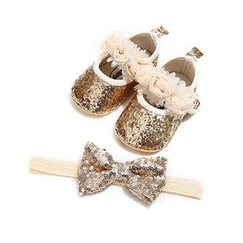 2 Pcs Baby Mädchen Schuh Anti-Rutsch-Weiche Sohle Kleinkind Schuhe+ Bowknots Stirnband (12~18 Monate, Golden)