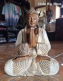0758198417260 Statue de Bouddha en Bois Blanc/doré/Marron 0,41 m