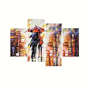 eCraftIndia 'Loving Couple Under Umbrella in rain' Painting (Canvas Print, 121.92 cm x 76.2 cm, Set of 4)