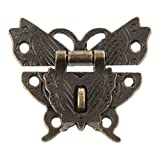 ODETOJOY 1pièce antique Papillon Loquet de verrou pour boîte Boîte à bijoux décoratifs Verrou Loquet avec vis vintage matériel pour tiroir de meuble