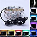 5050 RGB LED Streifen Lichtleiste Wasserdicht LED Strip Lichterkette Band mit 5V USB Anschluss Kabel für TV Hintergrundbeleuchtung Laptop Notebook, 30 Leds 1M
