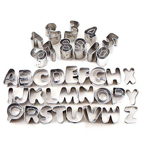 Switty Buchstaben und Zahlen Set geprägt, 37Metall Ausstechformen für Kuchen dekorieren, 37Pcs (Buchstaben-ausstechformen Aus Metall)