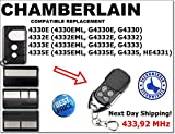 Chamberlain Ersatz 4330E, 4332E, 4333E, 4335E die ist kompatibel mit Chamberlain Fernbedienung, 433,92MHz fixed code