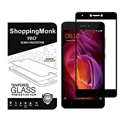 ShoppingMonk Full Coverage Edge To Edge Tempered Glass Screen Protector For Xiaomi Redmi Note 4 (Full Glass Black)