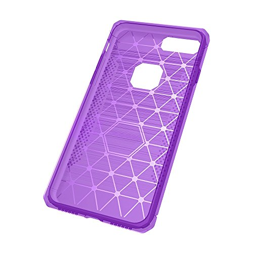 EKINHUI Case Cover Für Apple IPhone 7 Plus Fall Gebürstete Linien Textur Karikatur Faser Durable Anti-Rutsch TPU Cover Schock Absorbtion Schutzmaßnahmen zurück Deckung ( Color : Dark Gray ) Purple