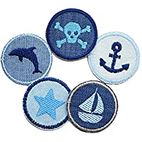 Set 5 Jeansflicken maritim Totenkopf Anker Stern Boot Delfin Patch gestickt Flicken zum aufbügeln für Jungen